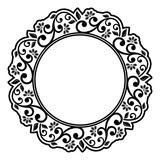 Oriental vector round black and white frame with arabesques and floral elements. Floral border with vintage pattern. Greeting card with place for text - 250170427