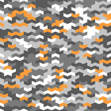 Geometric vector pattern with gray, white and orange arrows. Geometric modern ornament. Seamless abstract background - 250172060