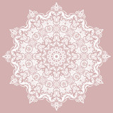 Oriental vector round pattern with white arabesques and floral elements. Traditional classic ornament. Vintage pattern with arabesques - 250172416