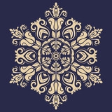 Oriental vector round golden pattern with arabesques and floral elements. Traditional classic blue and golden ornament. Vintage pattern with arabesques - 250172654