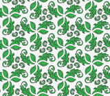 Floral vector ornament. Seamless abstract classic background with flowers. Pattern with green repeating floral elements. Ornament for fabric, wallpaper and packaging - 250172833