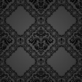 Orient vector classic pattern. Seamless abstract dark background with vintage elements. Orient background. Ornament for wallpaper and packaging - 250173064