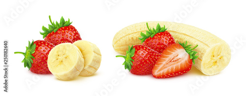 Banana and strawberry isolated on white background with clipping path - 250182640