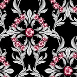 Seamless baroque pattern with ruby gems and silver scrolls