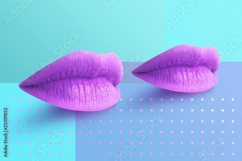 Fashion Concept Lipstick. Multicolored lips. Modern minimal art. © oobqoo