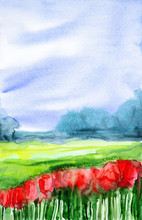 "Постер, картина, фотообои ""Watercolor illustration of a beautiful poppy field with a forest in the background"""