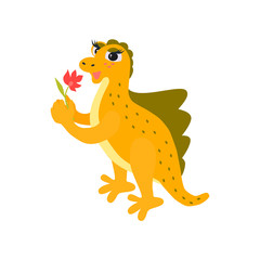 Dinosaur.  Cute baby dino for kids. Vector cartoon style illustration for presents, invitation, T-shirt, nursery decor, interior design.