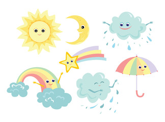 Cute weather icon set. Sun, moon, star with rainbow tail, rainbow, rainy cloud,  umbrella. Funny characters isolated on white background. Vector illustration in cartoon simple flat style.