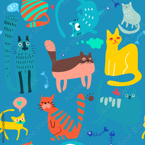 obraz lub plakat Cute Cartoon Cat Vector Icons, Seamless Pattern And Background