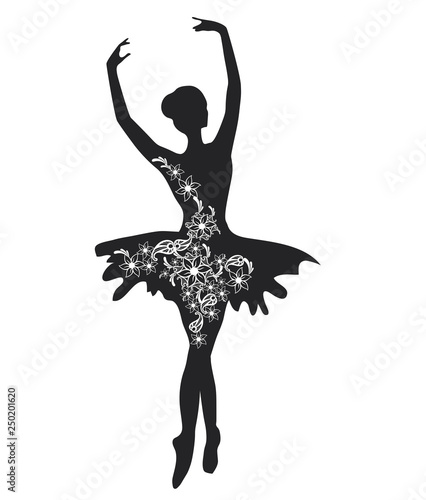 Ballerina with Flowers. Silhouette of a Beautiful Female Ballet Dancer © aleksa_d