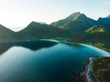 Seascape with sandy beach Lofoten Norway - 250202419