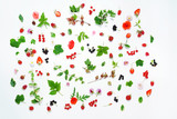 summer concept, organic fruit and flowers on the white background