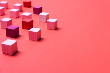 Color cubes, soft focus. Abstract coral, geometric background © alexmia