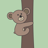 Panda climbing on the tree. Vector.