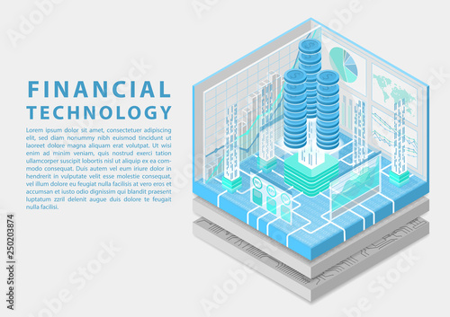 Financial technology concept with stacks of virtual dollars and data flow of transactions as isometric vector illustration © iconimage