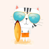Cute cartoon cat Wearing sunglasses holding a surfboard on the beach.