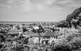 Wide angle view over the city and bay of Kamakura Japan