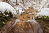 The Linn Waterfall is close up photographed in the winter forest. Taken near Linn, Switzerland, in canton of Aargau. - 250224267
