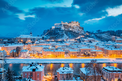 Classic view of Salzburg at Christmas time in winter, Austria © JFL Photography