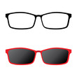 Glasses icon and red sunglasses isolated on white background.