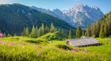 Idyllic alpine scenery with mountain chalets in summer