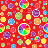 Very bright seamless background of different color lemon slices