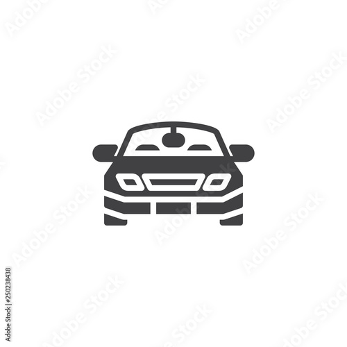 Car front view vector icon. filled flat sign for mobile concept and web design. Sports car simple glyph icon. Symbol, logo illustration. Pixel perfect vector graphics - 250238438