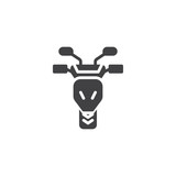 Motorcycle front view vector icon. filled flat sign for mobile concept and web design. Sports moto bike simple glyph icon. Symbol, logo illustration. Pixel perfect vector graphics