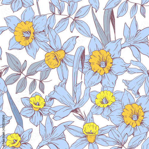 Seamless pattern with daffodils flowers. Vector - 250238636
