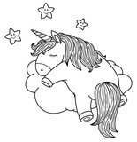 Vector cute, sleeping  unicorn on cloud, black silhouettes for coloring.
