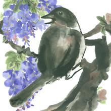 "Постер, картина, фотообои ""ink bird sitting on tree branches"""