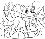 cartoon little cute fox, coloring book, funny illustration