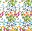 Decorative  composition of different flowers. Seamless background pattern version 1 - 250250830