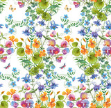 Decorative  composition of different flowers. Seamless background pattern version 1