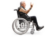 Mature man in a wheelchair making a rock and roll hand sign