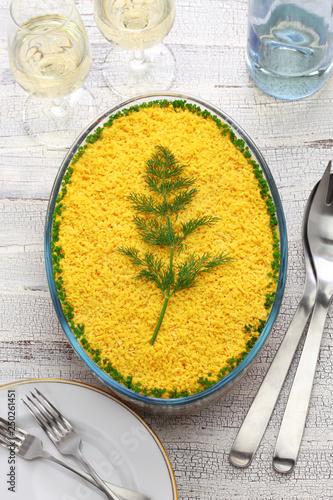 homemade mimosa salad, mimosa day dinner - 250261451