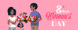 man giving bouquet of flowers to wife and daughter international womens day 8 march concept african american family celebrating holiday portrait greeting card
