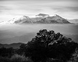 Mt. Shavano draped by low clouds.