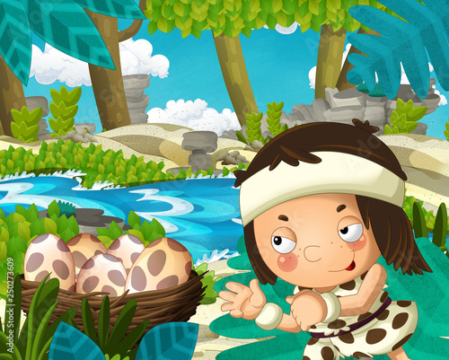 Cartoon scene with caveman in the jungle near the river in the background - illustration for children - 250273609