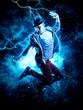 Man break dancing on electricity light background