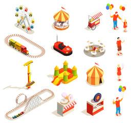 Amusement Park Isometric Icons © macrovector