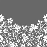 White lace border with flowers on gray background