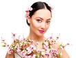 Woman Beauty Makeup in Sakura Flowers, Fashion Model Studio Portrait, Beautiful Girl Isolated over White Background