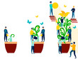Abstraction, business like a flower that is watered by employees. In minimalist style. Cartoon flat Vector