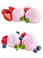 Strawberry ice cream on a white background
