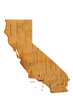 Quadro Map to the state of California USA in wood