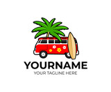 Volkswagen bulli hipster style with outline, tree palm and surfing board, logo design. Travel, trip, vacation, camping and transportation, vector design and illustration