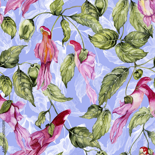 Beautiful parrot flowers on climbing twigs on lilac background. Seamless floral pattern. Watercolor painting. Hand painted illustration with rare exotic flowers. © katiko2016
