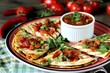 Quesadilla grill with spicy salsa with chili pepper. Mexican traditional food, wheat tortillas.  - 250345049