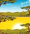 Set of Savanna landscape
